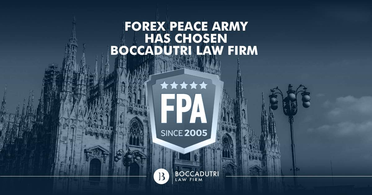 Forex Peace Army has chosen Boccadutri Law Firm to aid victims of Forex scams
